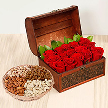 Rose Box Arrangement and Dry Fruits Combo: Birthday Flowers and Dry Fruits