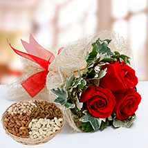 Velvety Rose Bouquet and Dry Fruits Combo: Anniversary Flowers and Dry Fruits