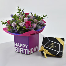 Vibrant Flowers and Godiva Chocolates For Birthday: Birthday Chocolates