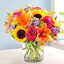 Vivid Bunch Of Flowers In Glass Vase: Chrysanthemum Flowers