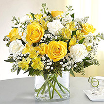 Yellow and White Mixed Flower Vase: Easter Gifts