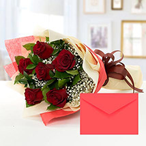 6 Red Roses Bouquet With Greeting Card QT: Send Gifts to Qatar