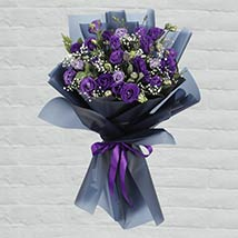 Purple Lisianthus Bouquet: Fathers Day Gifts to Qatar