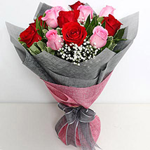6 Pink And 6 Red Roses Bunch: Send Gifts to Saudi Arabia