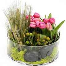 Pink Tulips With Pebbles Glass Vase Arrangement SG: Gift Delivery Singapore